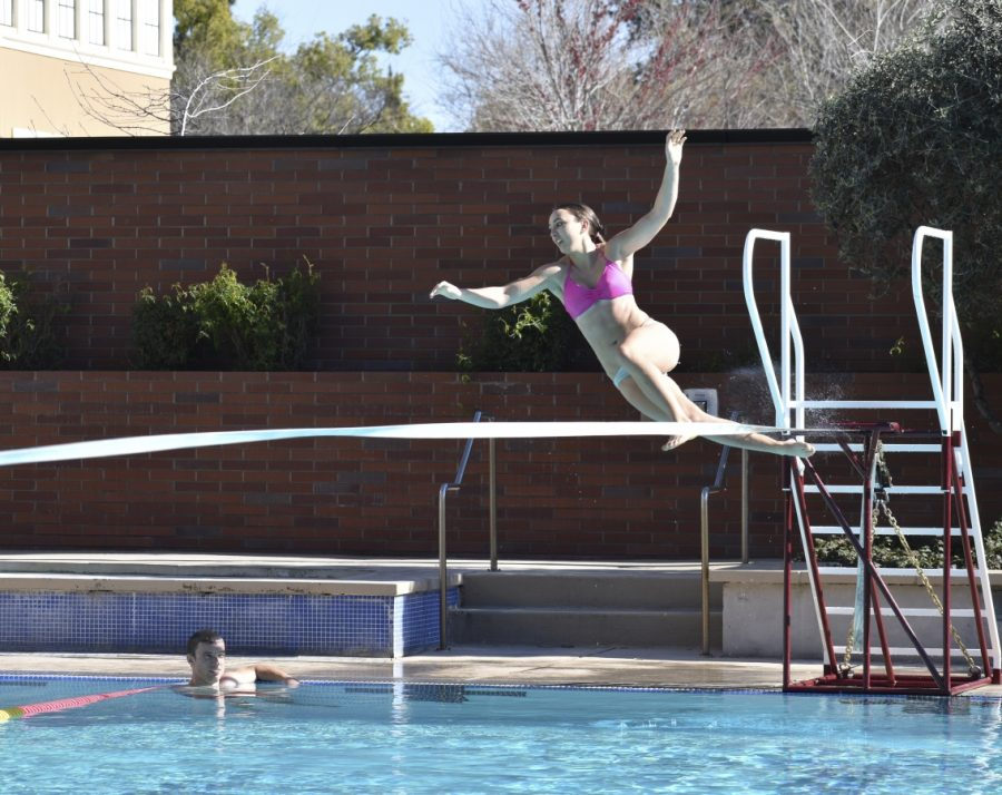 Third-year student Malin Eiremo falls into Wildcat Recreation Center's pool as she attempts to walk across the slackline. Photo credit: Alex Grant