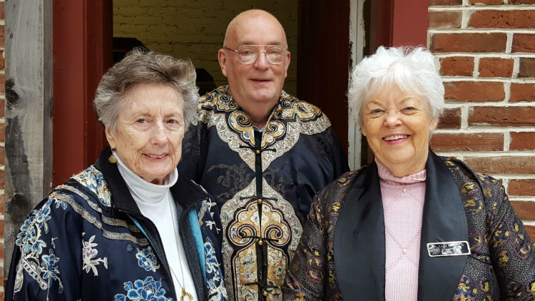 The docents of the temple in Oroville, from left to right: Jan Clay, David Knox, Lani Fridrich. Photo credit: Tisha Cheney