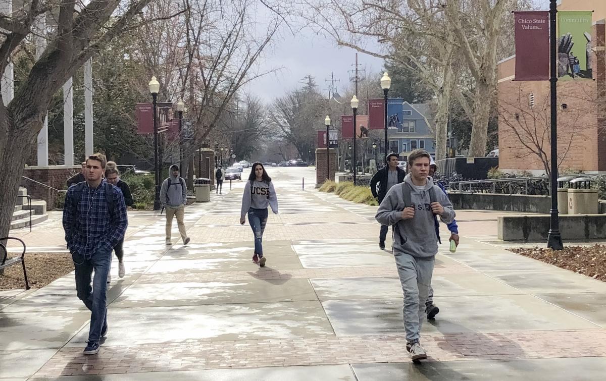 Chico State students walk on campus on February 26, 2018. Photo credit: Maria Ramirez