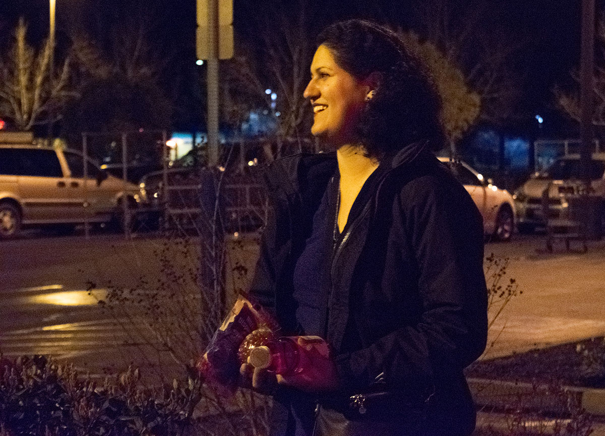 Butte College student and Chico resident, Michelle Alvarado, takes an early morning trip to the grocery store. Tuesday Feb 27, 2018. Photo credit: Rachael Bayuk
