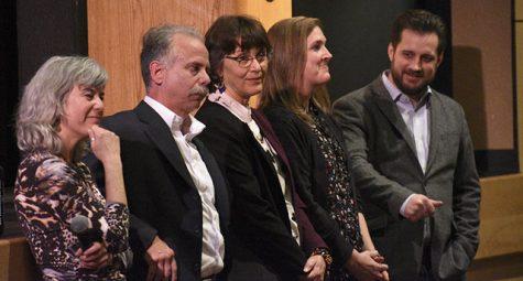 Sue Hilderbrand, Alan Gibson, Gayle Hutchinson, Darin Haerle and Adam Irish all listen to an audience member comment.