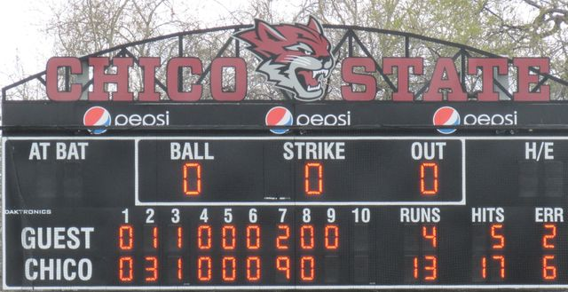 Chico State's 13 runs, 17 hits and nine run seventh inning helped overcome their six errors in game one of the doubleheader.