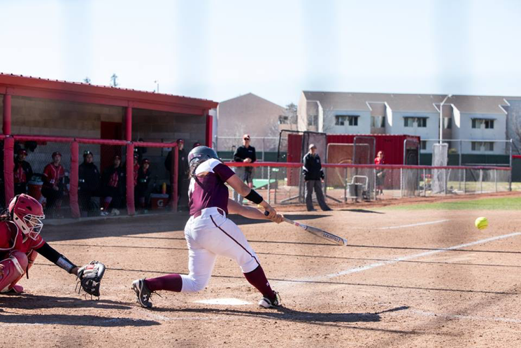 Cyrena Taylor at bat for the Wildcats. The senior finished with a double in each game against the Tritons as well two RBIs in game two. Photo Courtesy: Janna Weiss Photography Photo credit: Janna Weiss