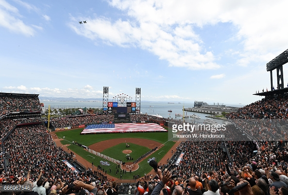 AT&T Park, the home of the San Francisco Giants, on opening day 2017. Photo Credit: Thearon W. Henderson