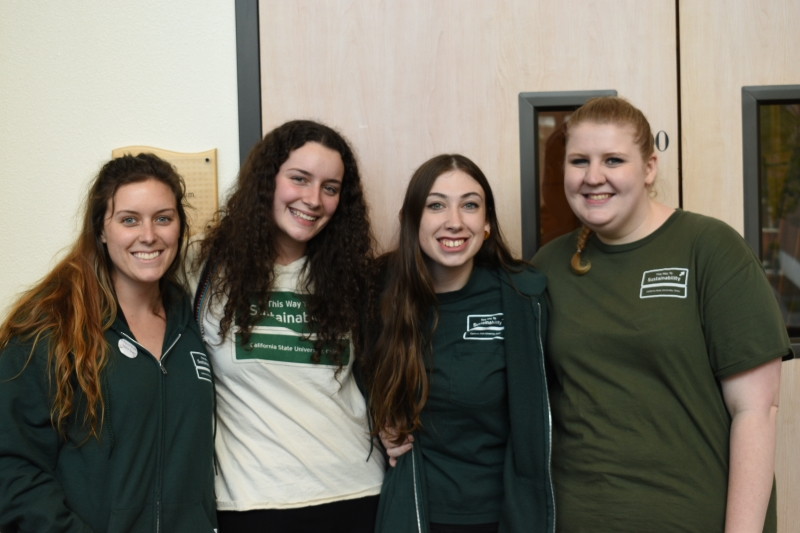 (Left to right) Kelly Scott, Michal Hanson, Alyssa Myers and Elizabeth Harmer celebrate the successful sustainability conference that they all helped coordinate this year. Photo credit: Alex Grant