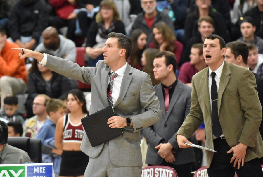 Chico+State+Wildcats+assistant+coaches+Mark+Darnall+and+Thomas+Ammon+coaching+the+Wildcats+basketball+team+in+Acker+Gym.+Photo+Courtesy%3A+Chico+State+Sports+Information+Desk.