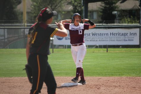 Bailey Akins celebrates following a double against Dominguez Hills. Akins tied the Chico State single season home run record Thursday with her 11th on the year. Photo credit: Caitlyn Young