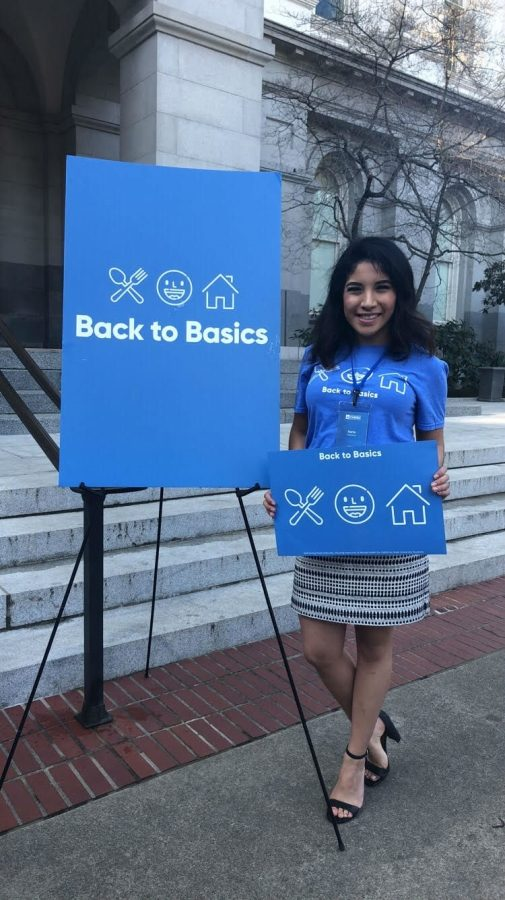 Karla Camacho was lobbying the morning after winning her award. Back to Basics is a student mental health and student housing insecurity campaign that Camacho has lobbied for in the past. Photo credit: Photo courtesy of Karla Camacho