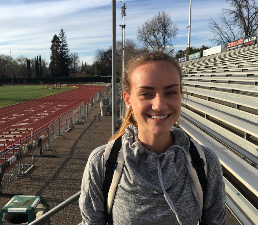 Jenavieve Turner is an anchor for the Chico State women's 4x400 track and field team. Photo credit: Andrew Baumgartner