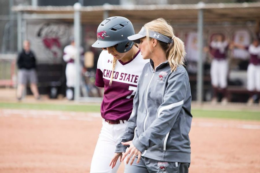 With the game two win Friday, Chico State Softball Head Coach Angel Shamblin tied Teri Rupe (1995-2005) as the winningest coach in Chico State softball history with 281 wins. Photo Courtesy: Janna Weiss Photography Photo credit: Janna Weiss