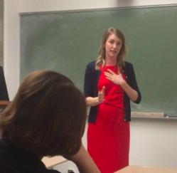 Addressing how she will run against a Republican representative, Denney said,