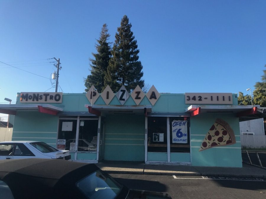 The exterior of Monstros Pizza. Photo by Grant Schmieding.