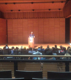 Luke Davies reads his poetry during a writer's voice session in Zingg Recital Hall