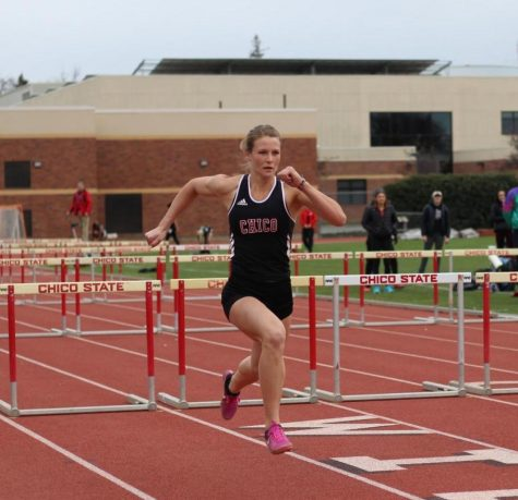 Adelae Freeden participates in the 110m hurdles at Chico State. Photo credit: Kailah Cabiles