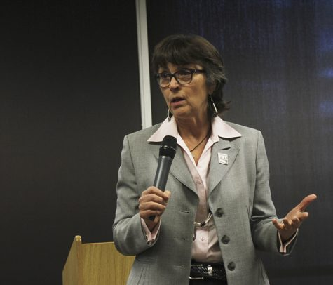 Gayle Hutchinson speaks on why the increased student fees are needed at the open forum on March 6. At each forum, Hutchinson stated that this increase was not due to any mismanagement of funds by past or current administrators.