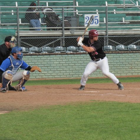 Alex DeVito prepares to launch a home run against Cal State San Marcos. Photo credit: Austin Schreiber