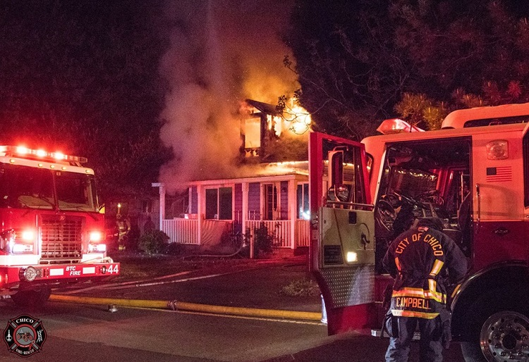 Chico Fire battles a house fire at East 20th Street. Photo courtesy of Chico Fire Facebook.