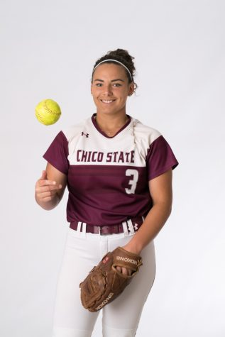 Chico State pitcher Haley Gilham has been named CCAA conference pitcher of the week five times this season, 11 times in her career and will be heading to Neatherlands following graduation. Photo credit: Kate Angeles