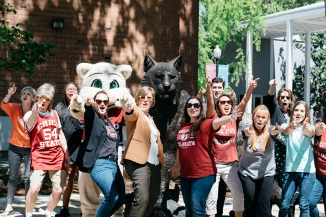 On April 20th, Chico State staff film the annual staff luncheon in front of the new wildcat statue. Photo credit: Kate Angeles