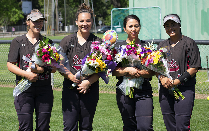 The four Chico State seniors Karli Skowrup, Haley Gilham, Cyrena Taylor and Mia Quintero all have been a crucial part of the Wildcat's 39-3 season. Skowrup currently leads the CCAA in RBIs while Gilham leaves Chico State as the all time wins leader. Photo credit: Martin Chang