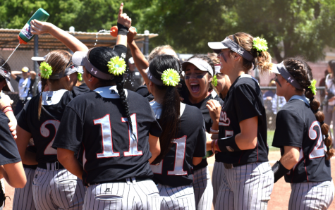 Chico State softball celebrates their NCAA West Regional Title Saturday. Photo credit: Martin Chang