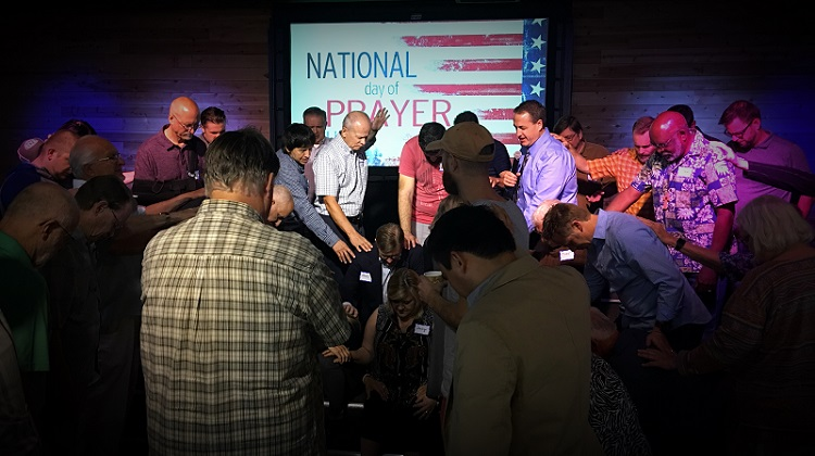 A morning breakfast, followed by prayer, was held Thursday at Grace Community Church before the downtown events. Photo courtesy Shawna Burhans.