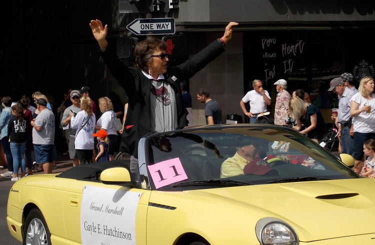 President Gayle Hutchinson represented Chico State Saturday at the Pioneer Day Parade. Photo credit: Josh Cozine