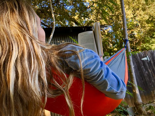 Butte College student Clara Garske enjoys an afternoon in the trees on Wednesday, taking a short break from syllabus week. Photo credit: Daelin Wofford