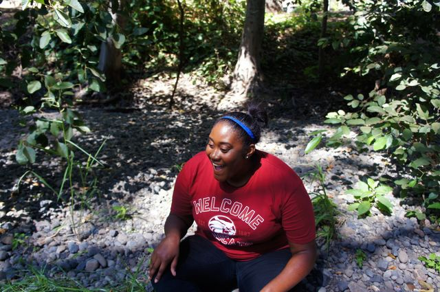 Resident advisor Alexis Ricks relaxes at Big Chico Creek, taking a well-deserved break from the first week of classes. Photo credit: Keelie Lewis