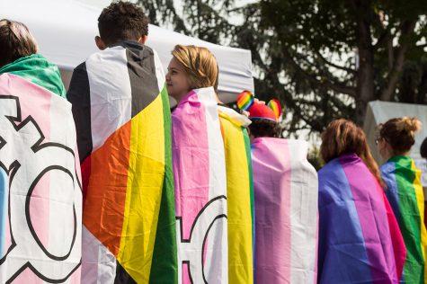 A group of local teens display their LGBTQ+ pride Saturday.