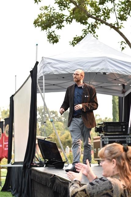 Professor of art and art history Asa Mittman gives a speech at EDX Chico Monday morning. Photo credit: Julia Maldonado