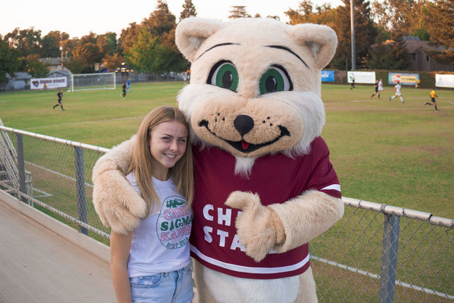Willie the Wildcat and Chico State student Annecy Rocca support the Chico State Mens Soccer Team at the Chico State Wildcats vs. Seattle Pacific Falcons Western Washington Vikings game. Photo credit: Maury Montalvo