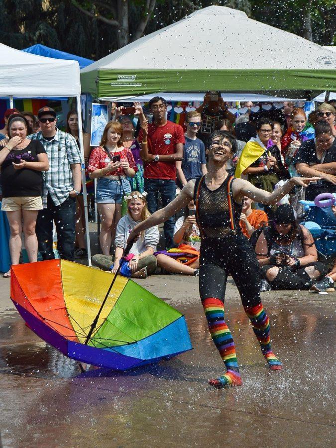 Performer Tucker Noir entertains onlookers with dance rendition to