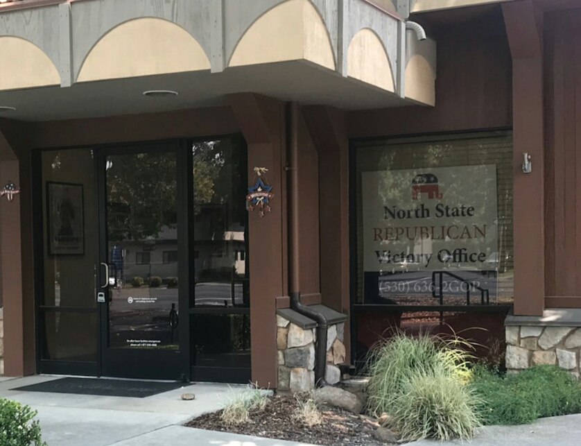 The North State Republican Victory Headquarters is located at 1540 Esplanade in Chico. Photo credit: Justin Jackson