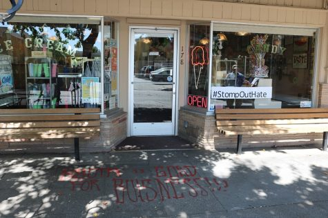 Several of Reynold's campaign signs and the storefront of her business were vandalized, late Friday night. Photo credit: Christian Solis