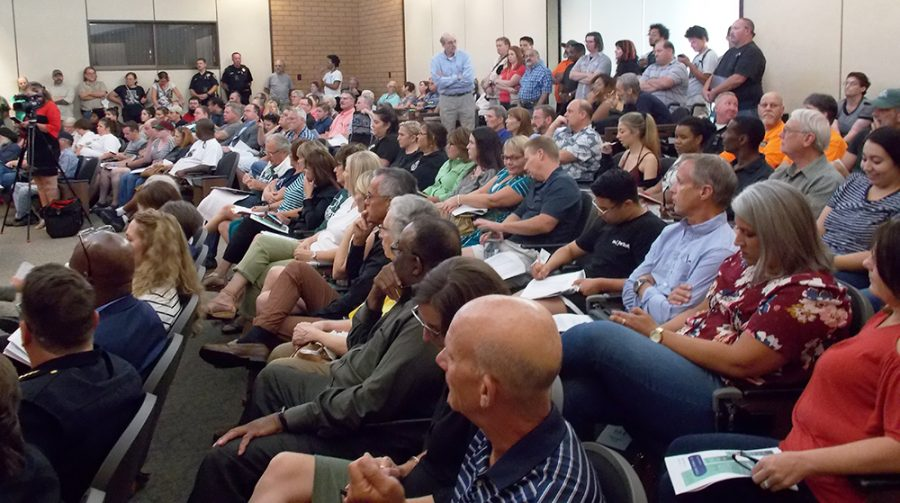 Council Chambers were filled to standing room only, at Tuesday's city council meeting. 43 people requested to address the council over the talks of bringing back the sit-lie ordinance. Photo credit: Josh Cozine