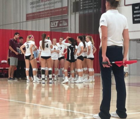 Chico State game plans before the start of the match against Stanislaus State on Wednesday. Photo credit: Wesley Harris