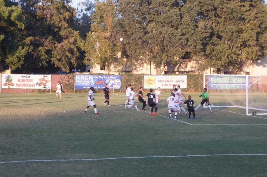 Chico State men's soccer defends the goal. The Wildcats defeated CSU Monterey Bay 2-1 on Friday. Photo credit: Keelie Lewis