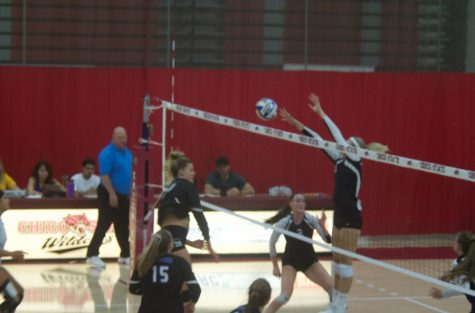Chico State makes a block against Cal State San Bernardino in this archived photo. Photo credit: Maury Montalvo