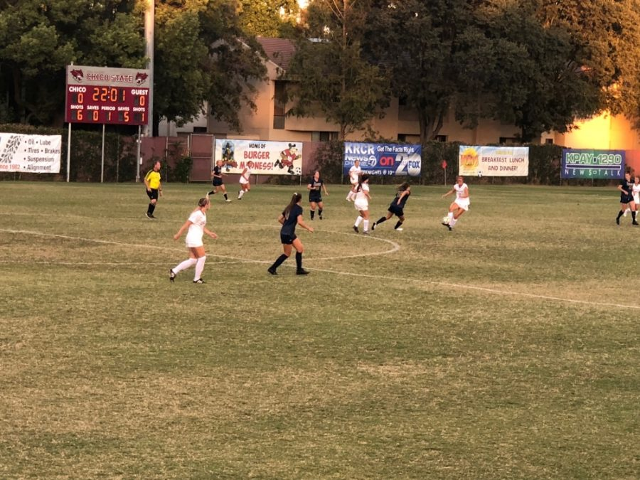 Chico State women's soccer plays defense at home earlier in the season in this archived photo. Photo credit: Wesley Harris