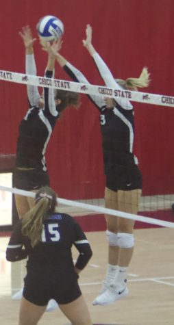 Chico State's #3 Kim Wright attempts a block during a game against CSU San Bernardino. Photo credit: Maury Montalvo