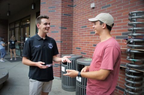 Chico's Inter-fraternity President Trevor Guthrie bonding with Adam Cintron at Meet the Greeks on Wednesday afternoon. Photo credit: Keelie Lewis