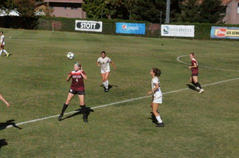 Chico State forward, Erin Woods, heads the ball in a win against Humboldt State on Sunday. Photo credit: Keelie Lewis