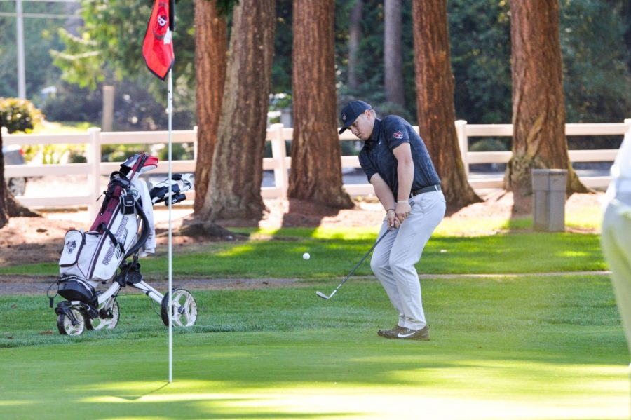 Josh McCollum attempts to bury a shot at the Western Washington Invitational in this archived photo. Image courtesy of Chico State Athletics