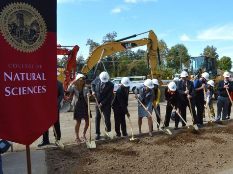 President Gayle Hutchinson and faculty members of the College of Natural Sciences use their golden shovels to break ground for the new science building on Wednesday. Photo credit: Olyvia Simpson
