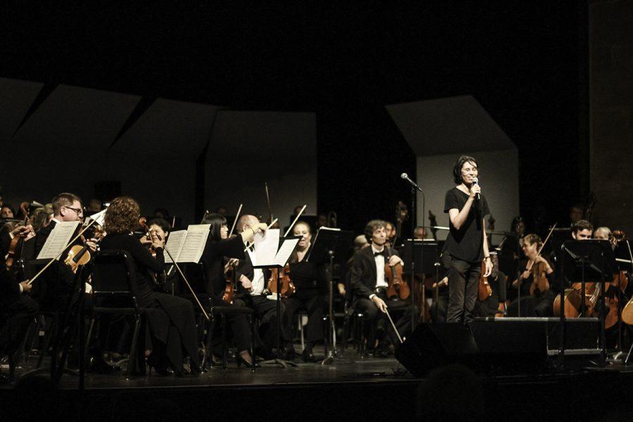 Scott Seaton conducted the North State Symphony on a Saturday Night at the Laxson Auditorium, Chico State. Photo credit: Tara Killoran