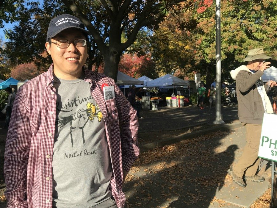 Phillip Kim campaigning at the Chico Certified Farmers Market Photo credit: Justin Jackson