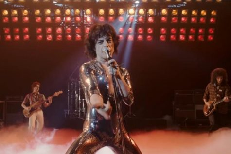 In 'Bohemian Rhapsody', Rami Malek works hard to portray Mercury but cannot rise above serious plot problems. Image from 20th Century Fox.