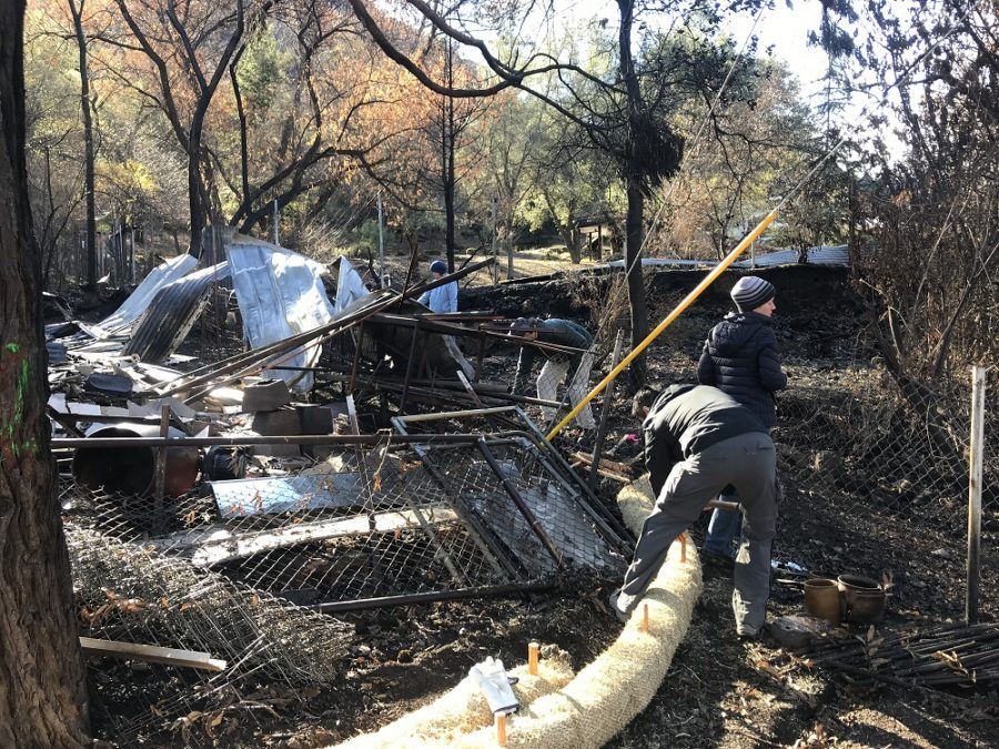 Volunteers with Friends of Butte Creek have been setting up wattles in an attempt to contain potentially harmful runoff from the ashes and debris left in the wake of the Camp Fire. Photo credit: Dan Christian
