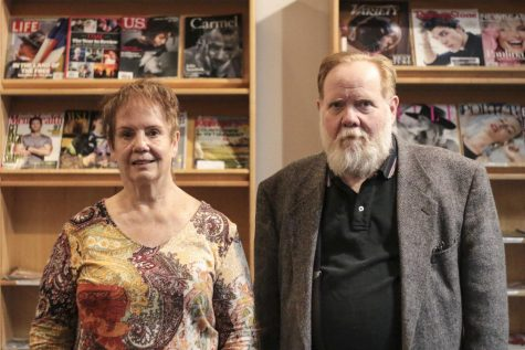 Donna Wilson (left) and Dan Shoemaker, hosts of Death Cafe at the Chico Branch Library Monday night. Photo credit: Brian Luong
